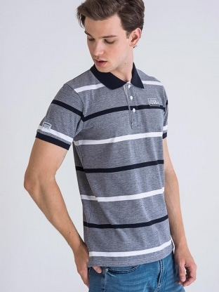 STRIPED PIQUE POLO MEN