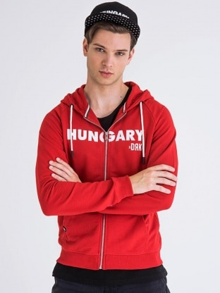 HUNGARY ZIPPED HOODY MEN RED