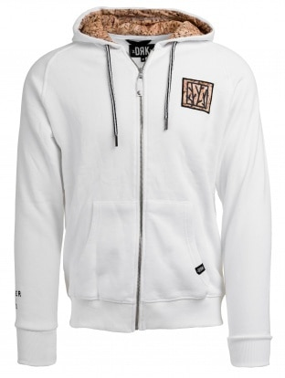 REMEMBER MEN WHITE ZIPPED HOODY